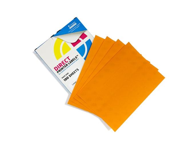 4 Per Sheet Fluorescent Orange Labels  - 2