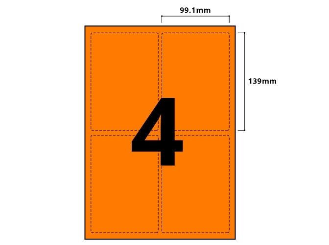 4 Per Sheet Fluorescent Orange Labels  - 3