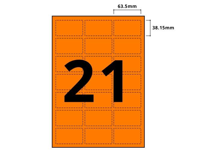 21 Per Sheet Fluorescent Orange Labels  - 2