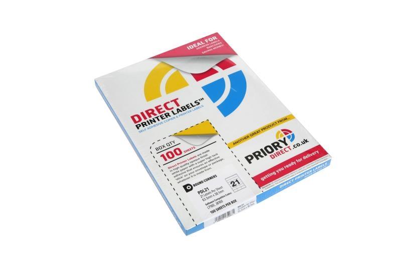 21 Per Sheet Fluorescent Orange Labels  - 3