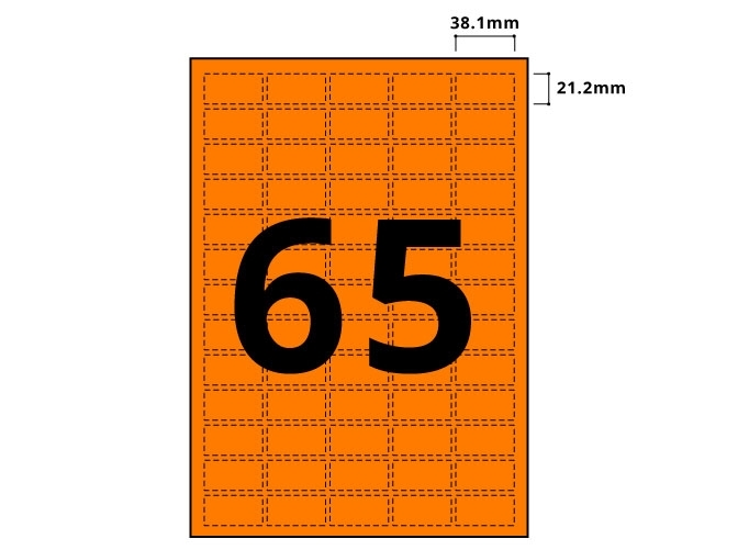 65 Per Sheet Fluorescent Orange Labels  - 2