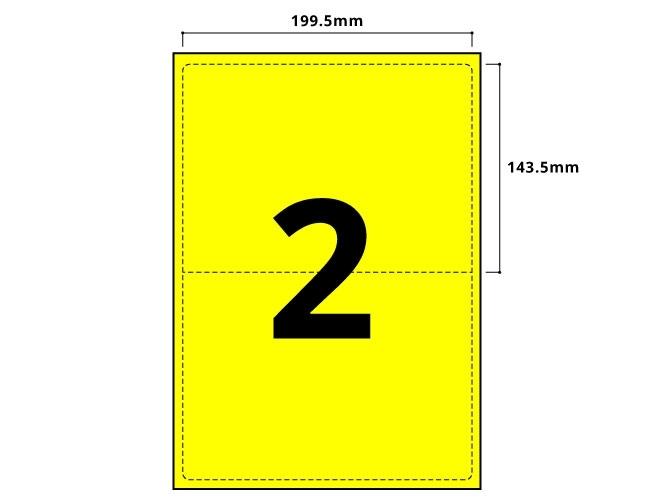 2 Per Sheet Fluorescent Yellow Labels  - 2