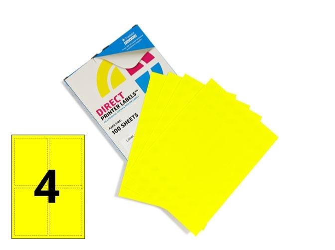 4 Per Sheet Fluorescent Yellow Labels