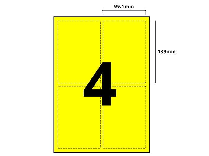 4 Per Sheet Fluorescent Yellow Labels  - 2