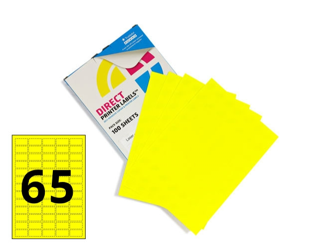 65 Per Sheet Fluorescent Yellow Labels