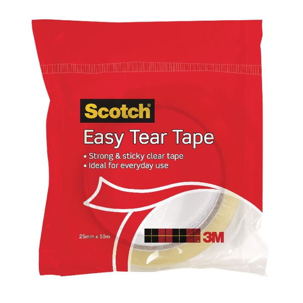 24mm x 50m Clear Easy Tear Tape