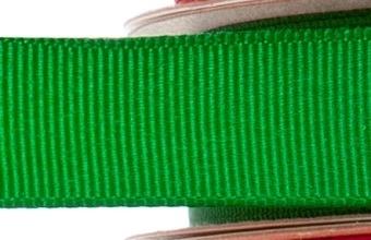 15mm x 20m - Green Premium Grosgrain Fabric Ribbon