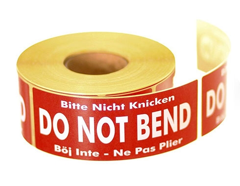 Do Not Bend Labels
