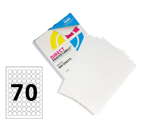70 Per Sheet Round Labels - 25mm Diameter