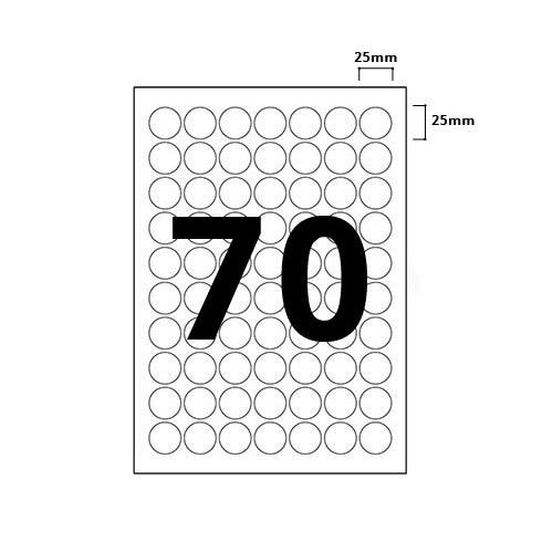 70 Per Sheet Round Labels - 25mm Diameter - 2