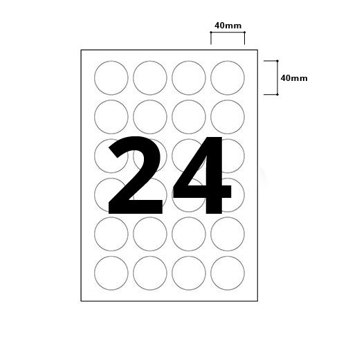 24 Per Sheet Round Labels - 40mm Diameter - 3