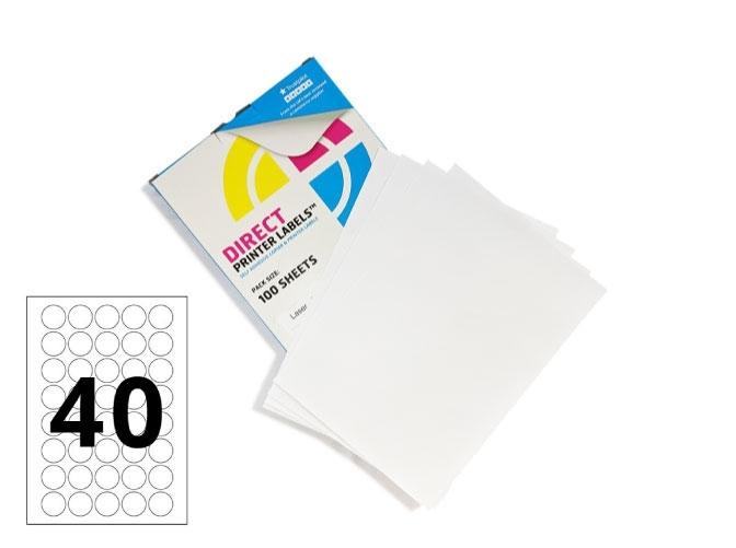 40 Per Sheet Round Labels - 32mm Diameter