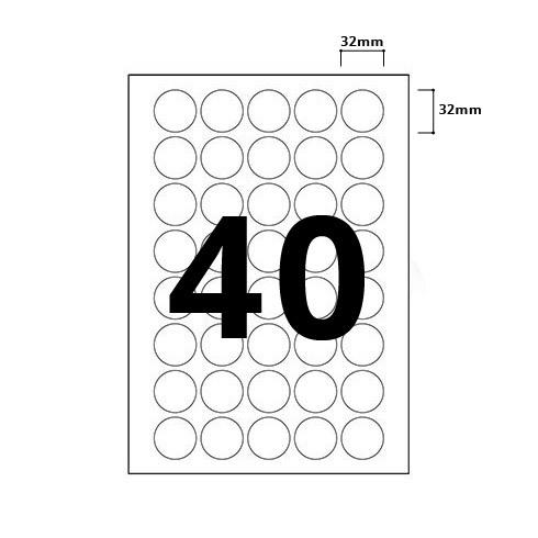 40 Per Sheet Round Labels - 32mm Diameter - 2
