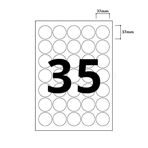 35 Per Sheet Round Labels - 37mm Diameter - 3
