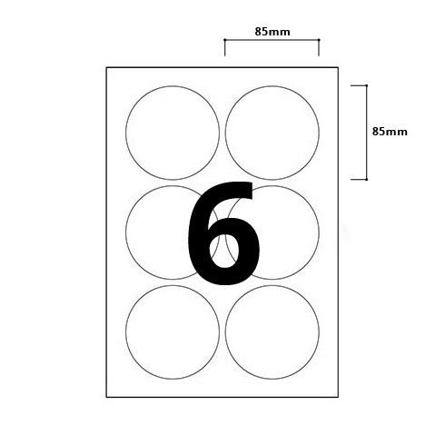 6 Per Sheet Round Labels - 85mm Diameter - 2