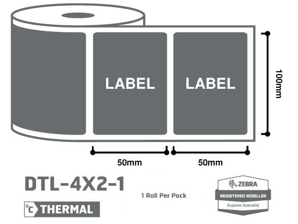 Office Supplies 4 x 2 Zebra Thermal Labels - 1 Roll
