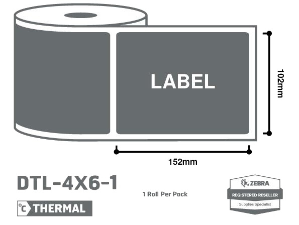 Office Supplies 4 x 6 Zebra Thermal Labels - 1 Roll