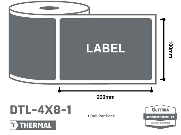 Office Supplies 4 x 8 Zebra Thermal Labels - 1 Roll