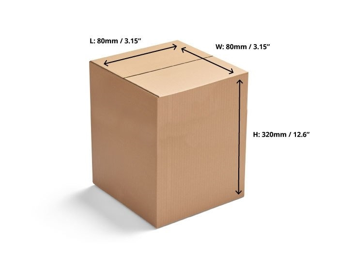 80 x 80 x 320mm Single Wall Cardboard Boxes