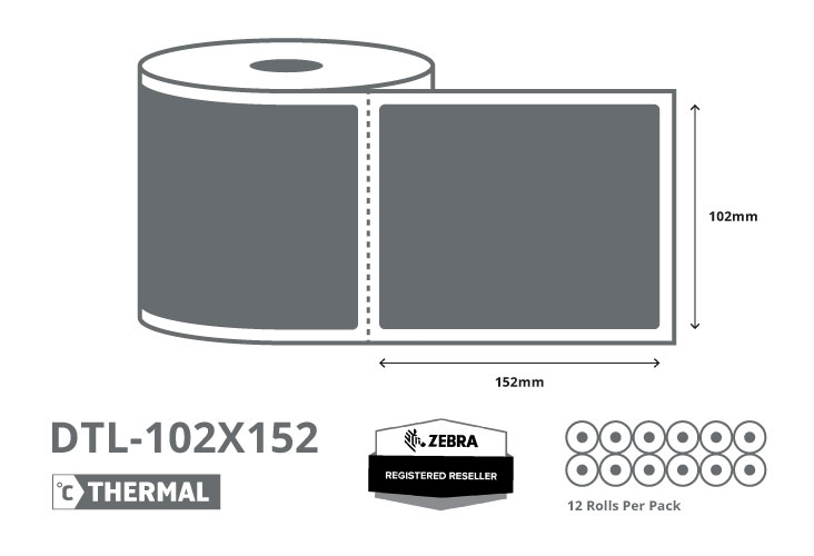 4 x 6 Zebra Direct Thermal Labels - Coated - 2