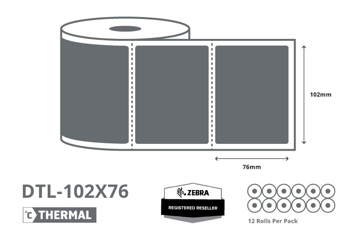 4 x 3 Zebra Direct Thermal Labels - Coated
