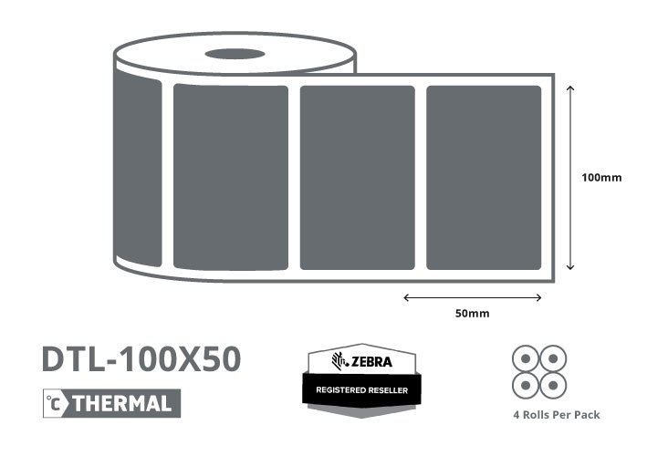 4 x 2 Zebra Direct Thermal Labels - Coated