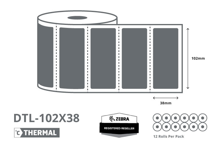 4 x 1.5 Zebra Direct Thermal Labels - Coated