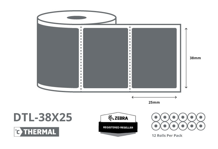 1.5 x 1 Zebra Direct Thermal Labels - Coated