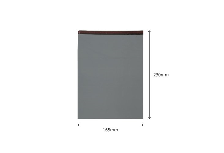 165mm x 230mm - Recycled Grey Poly Mailers