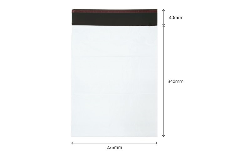 255mm x 340mm +40mm - White Poly Mailers
