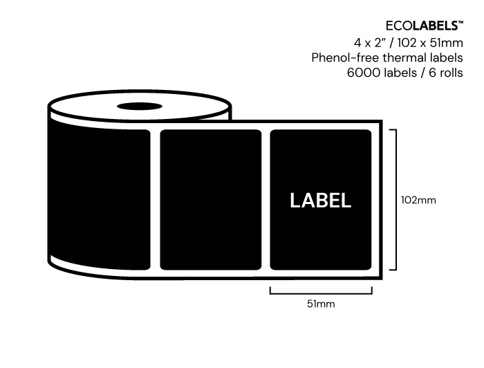 4 x 2 Priory Elements EcoLabels™ - Phenol Free Thermal Labels - 6 Rolls
